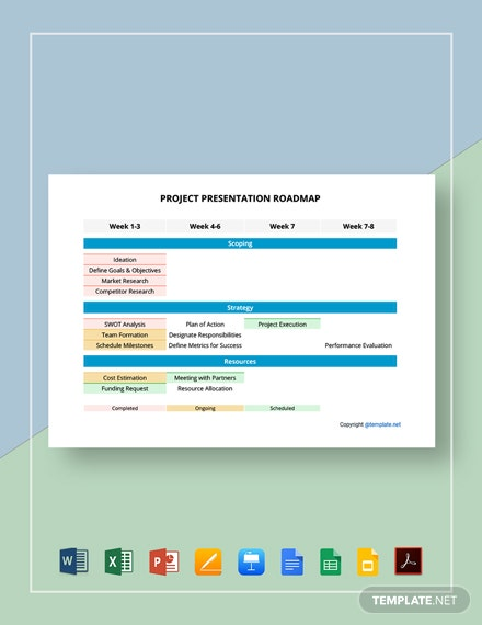 Free Printable Project Presentation Roadmap Template