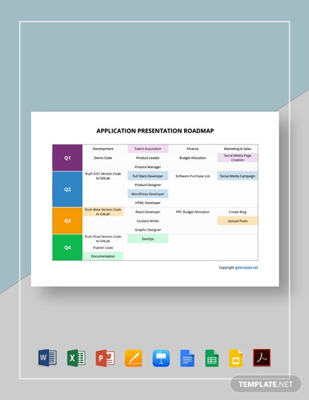 Free Simple Application Presentation Roadmap Template