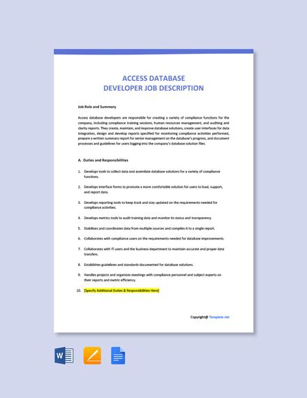 Free Access Database Developer Job Description Template