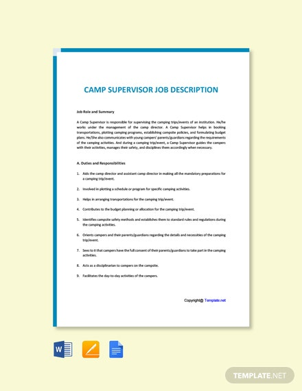 Free Camp Supervisor Job Ad/Description Template