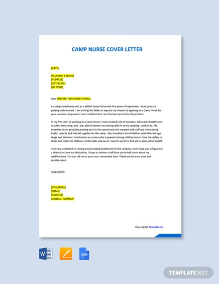 Free Camp Nurse Cover Letter Template