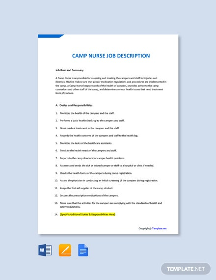 Free Camp Nurse Job Description Template
