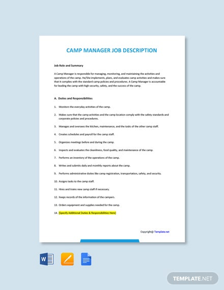 Free Camp Manager Job Description Template