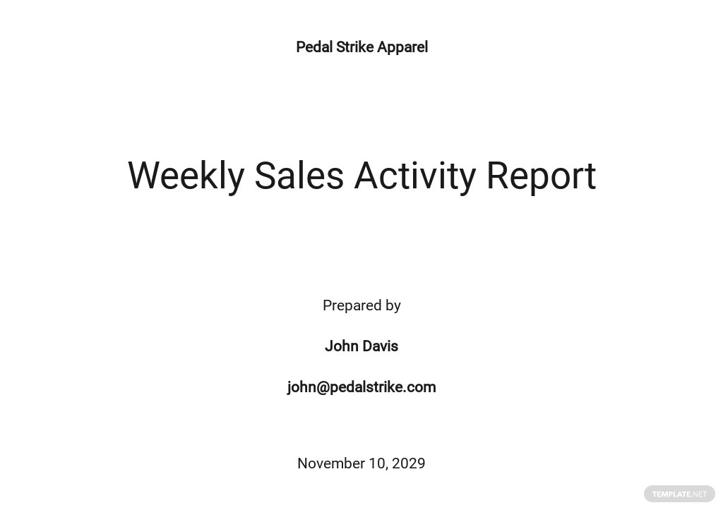 Free Weekly Sales Activity Report Template
