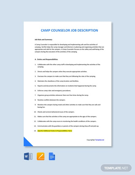 Free Camp Counsellor Job Ad/Description Template