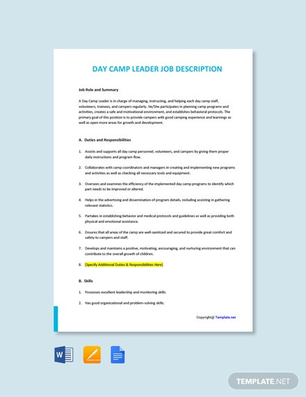 Free Day Camp Leader Job Description Template