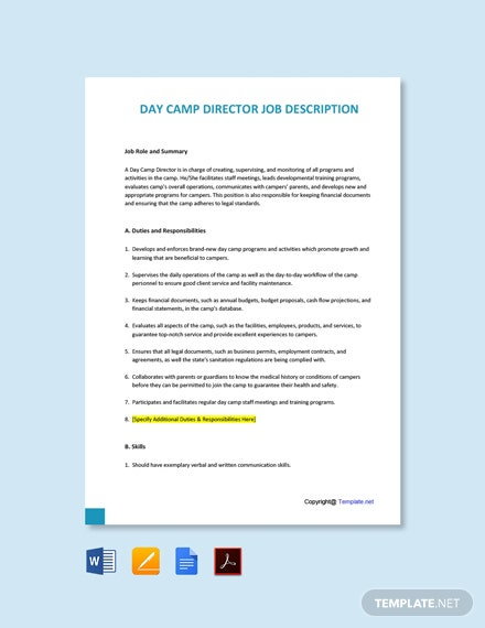 Free Day Camp Director Job Description Template