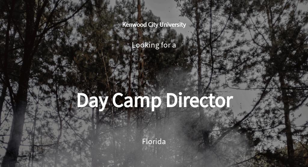 Day Camp Director Job Ad/Description Template