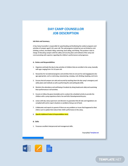 Free Day Camp Counsellor Job Ad/Description Template