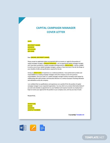 Capital Campaign Manager Cover Letter Template