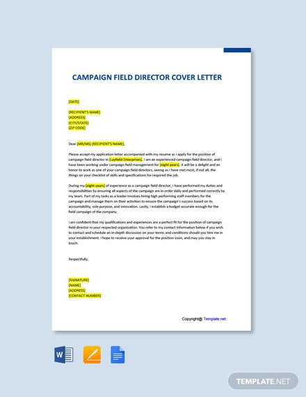 Campaign Field Director Cover Letter Template