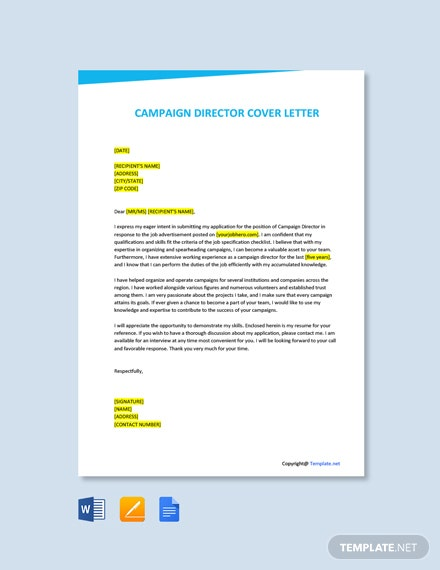 Campaign Director Cover Letter Template