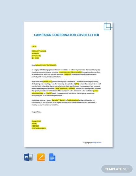 Campaign Coordinator Cover Letter Template