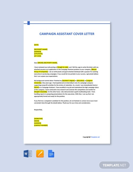 Campaign Assistant Cover Letter Template