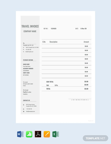 Free Blank Travel Invoice Template