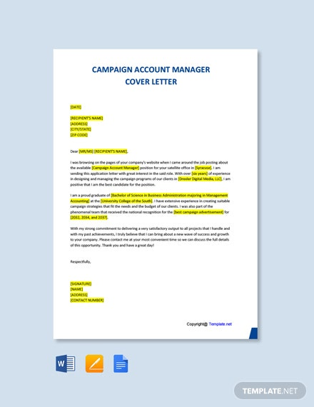 Free Campaign Account Manager Cover Letter Template