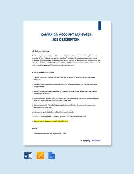 Free Campaign Account Manager Job Ad/Description Template