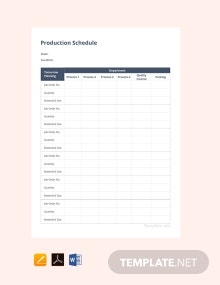 Free Production Schedule Template