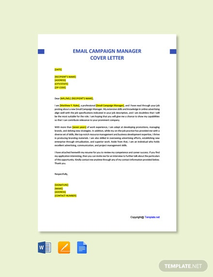 Email Campaign Manager Cover Letter Template