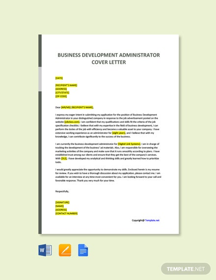 Free Business Development Administrator Cover Letter Template
