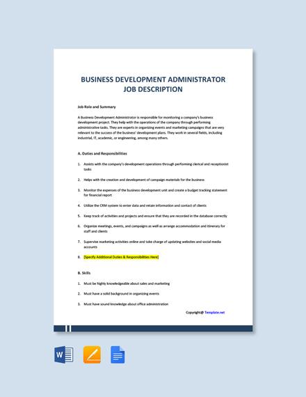 Free Business Development Administrator Job Description Template