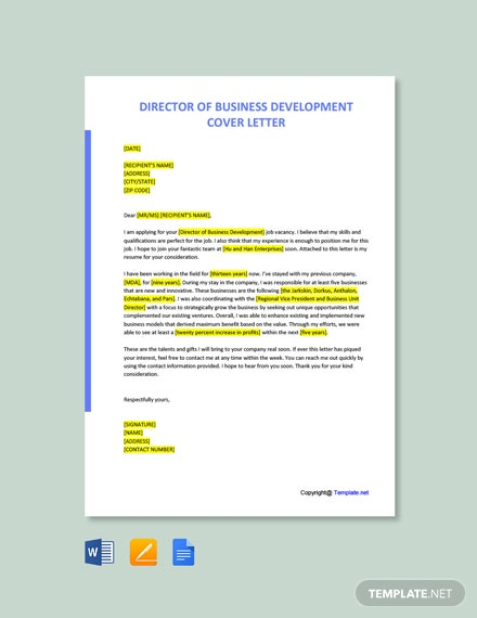 Free Director of Business Development Cover Letter Template