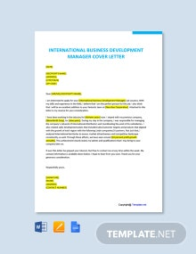 Free International Business Development Manager Cover Letter Template