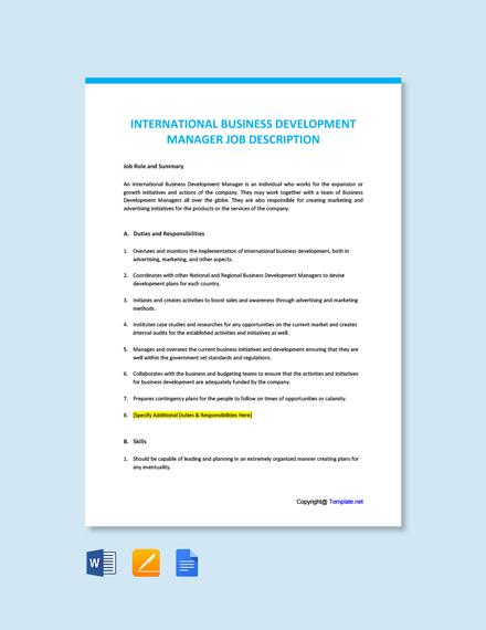 Free International Business Development Manager Job Ad/Description Template