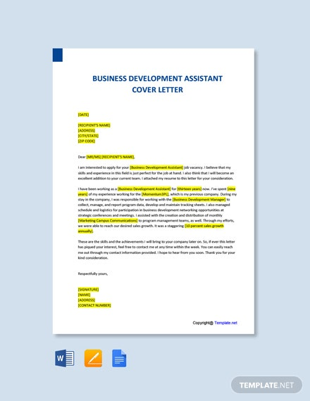 Free Business Development Assistant Cover Letter Template