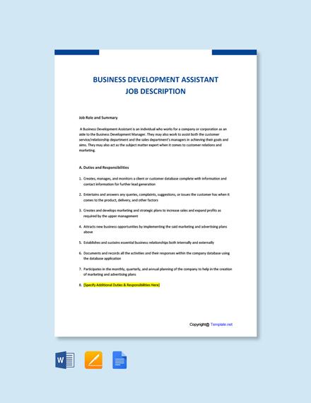 Free Business Development Assistant Job Ad/ Description Template