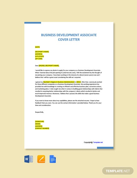 Free Business Development Associate Cover Letter Template