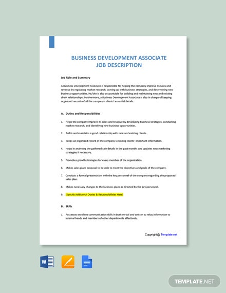 Free Business Development Associate Job Ad/Description Template