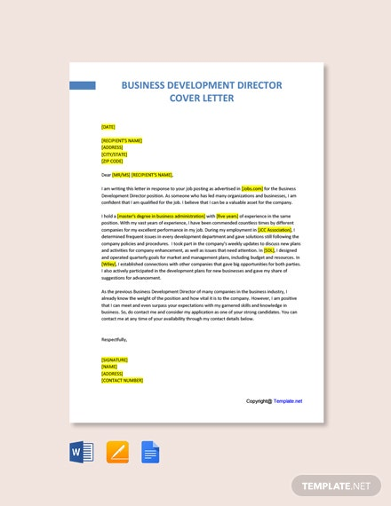 Free Business Development Director Cover Letter Template
