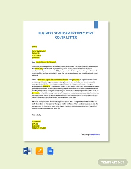 Free Business Development Executive Cover Letter Template