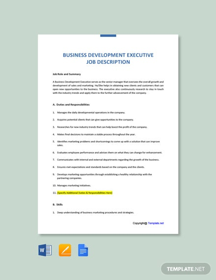 Free Business Development Executive Job Ad/Description Template