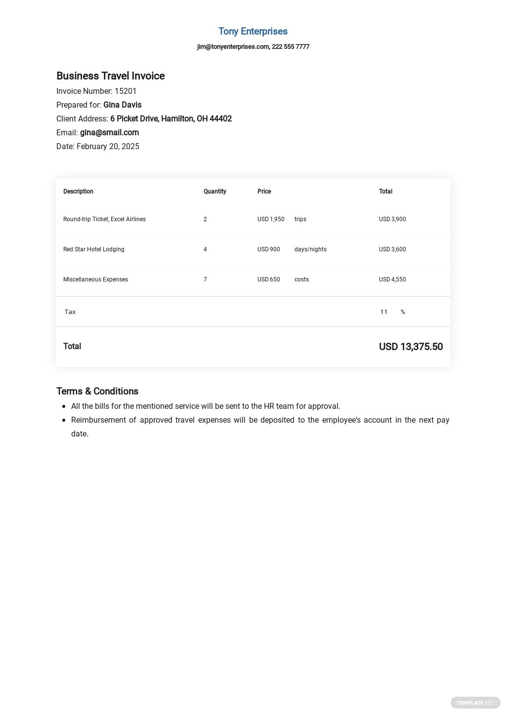 Business Travel Invoice Template