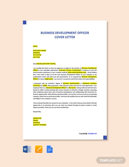 Free Business Development Officer Cover Letter Template