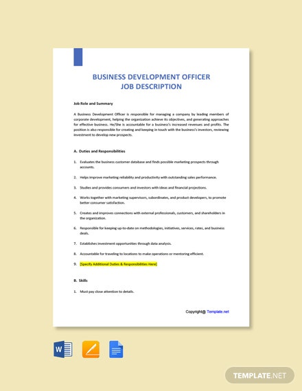 Free Business Development Officer Job Ad/Description Template