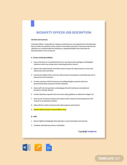 Free Biosafety Officer Job Ad/Description Template