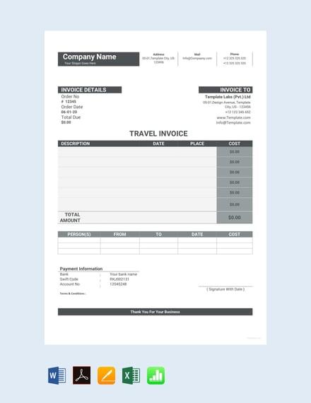 Free Sample Travel Invoice Template