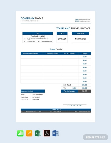 Free Tour and Travel Invoice Template