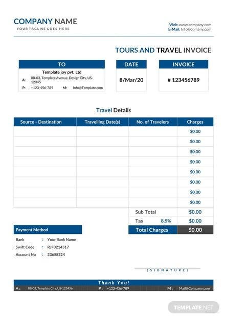 Tour and Travel Invoice Template