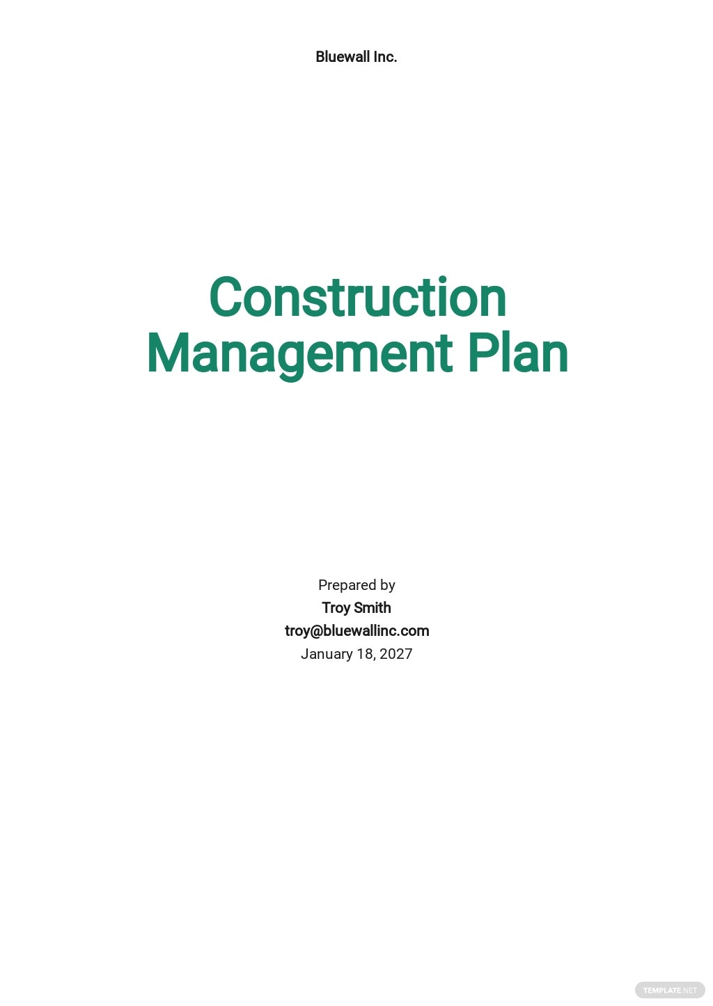 Sample Construction Management Template