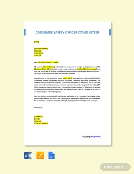 Free Consumer Safety Officer Cover Letter Template