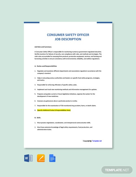 Free Consumer Safety Officer Job Ad/Description Template