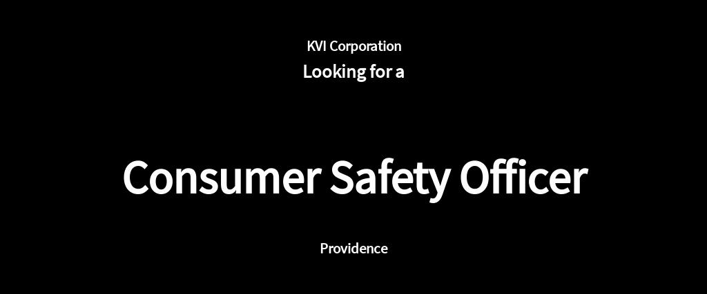 Consumer Safety Officer Job Ad/Description Template