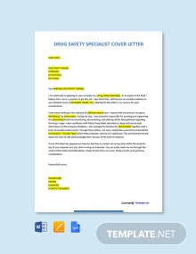 Free Drug Safety Specialist Cover Letter Template