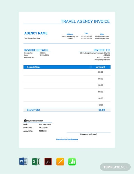 Free Travel Agency Invoice Template
