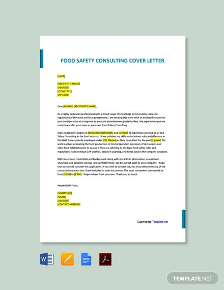 Food Safety Consulting Cover Letter Template