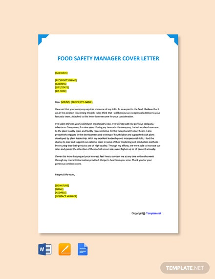 Free Food Safety Manager Cover Letter Template